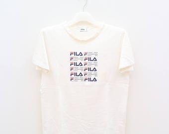 Vintage FILA Biella Italia International Since 1973 Sportswear White Tee T Shirt Size L