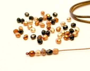 24 beads black, gold, Bronze, Tan, 4mm, Czech glass