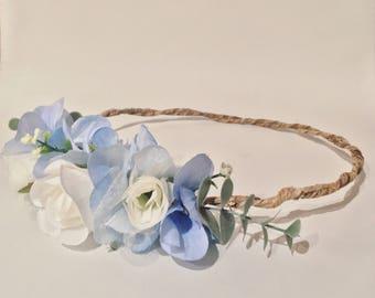 Flower Crown, Blue flower crown, Flower Headband, flower crown, Baby Shower crown , wedding flower crown, bridal crown, baby flower crown