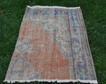 Free Shipping turkish rug 3.1 x 4.1 anatolian vintage floor rug vegetable dyed area rug tribal rug oushak rug boho decor diving rug DC496