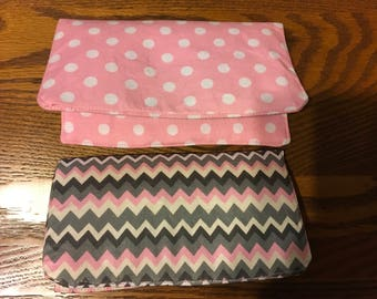Checkbook Cover - Pink Polka Dots OR Pink/Grey/White Chevron