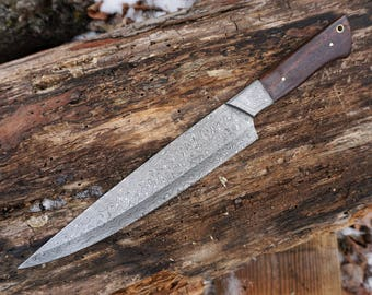 "10"" Tiger Chef Knife; DS bolster, Raindrop Damascus steel, Rosewood handle"