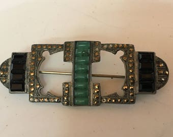 Theodor Fahrner art deco brooch with onyx, chrysoprase and marcasite, Germany