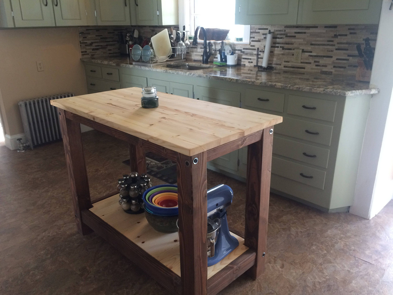 1 full shelf farmhouse kitchen island butcher block style. Black Bedroom Furniture Sets. Home Design Ideas