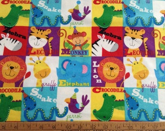 Flannel zoo animals cotton fabric by the yard
