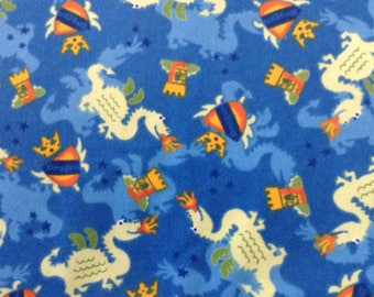 Flannel/dragons/castles on blue background cotton fabric by the yard