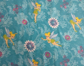 Flannel/Disney/Tinkerbell on aqua background cotton fabric by the yard