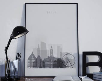 Lille Art Lille Print Lille Poster Lille Photo Lille Wall Art Lille Wall Decor Lille Watercolor Lille Skyline Lille Multicolor Unframed