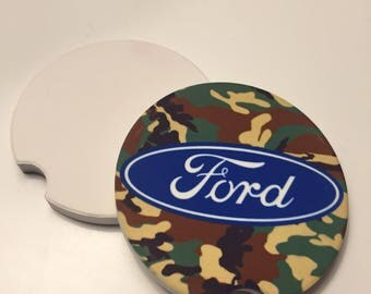 Camouflage ford vehicle coasters. Add a personal touch to your car / trucks interior with these camo coasters!