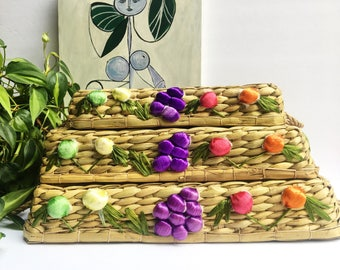 Raffia Nesting Trays, Made in Philipines, set of 3 Fruit Trays