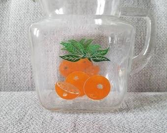 Vintage Federal Glass Orange Juice Pitcher