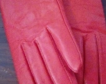 Vintage Dress Gloves New with Tags Red Leather Women's size Small Red Gloves
