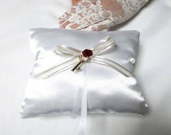"""Key to happiness"" ring bearer pillow"