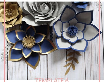 Paper Flower Template, Giant Paper Flower Templates, PDF Paper Flower, Paper flower Kit, DIY Paper Flower, Base and Instruction Including
