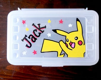 Pokemon Personalized Pencil Box, Pokemon Pencil box, hand painted school supplies storage, personalized kids favor, pikachu party favors