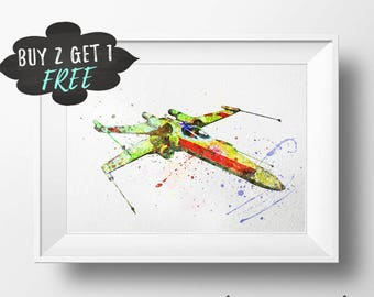 Star Wars Poster, X-Wing Star Wars Ship, Star Wars Art Print, Star Wars Wall Art, Star Wars Wall Decor, Starwars Poster Star Wars Watercolor