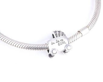 Baby Girl Charm - Sterling Silver Its a Girl Charm - Baby Charm - Girl Charm - New Born Charm - Baby Bassinet Charm-Fits all Charm Bracelets