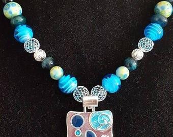 Blue Emblem pendant necklace