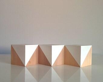 White Nursery Decor . Wooden Baby Blocks . Scandi Nursery Decor . White & Wood . Minimalist Monochrome Decor .