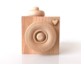 Wooden Nursery Decor Camera . Unfinished Wood Toy . Wooden Home Decor . Instagram Prop . Photographer Gift . Wooden Camera Ornament .