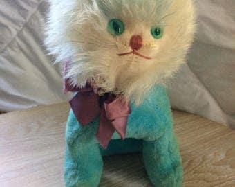 Vintage Blue Lion Stuffed Toy with soft fur (cute and creepy)