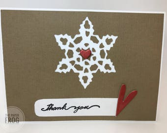 Snowflake and Hearts Winter or Christmas Thank You Card