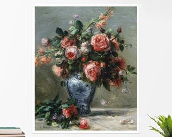 "Pierre-Auguste Renoir, ""Vase of Roses"". Art poster, art print, rolled canvas, art canvas, wall art, wall decor"