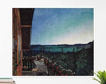 "Harald Sohlberg, ""Summer Night"". Art poster, art print, rolled canvas, art canvas, wall art, wall decor"
