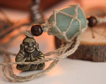 Adventurine Hemp Wrapped Necklace