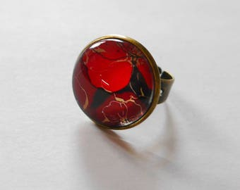 """Ring bronze Cabochon glass 20mm """"red flower"""""""