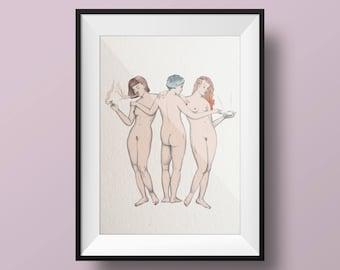 "Illustration ""Tre Grazie"" A4"