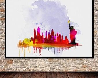 Newyork skyline, newyork print, newyork city, newyork city print, newyork, newyork wall art, newyork skyline silhouette, newyork art print
