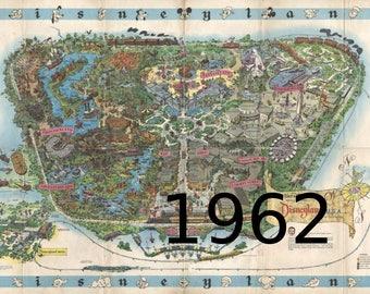 1983, 1992, Disney, Disneyland map, Disneyland, Disney Decor, Disneyland poster, Disneyland park, large size, Kids, Walt Disney, original