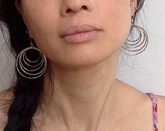 Silver Multiple Hoop Earrings/Handmade Hoop Earrings/Silver Circle Earrings/Gift For Her/Dangling Hoop Earrings/Rustic Handmade Earrings