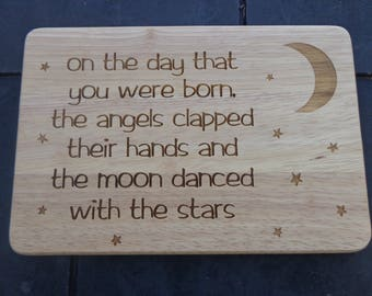 Engraved Wooden Plaque 'Moon Danced with Stars' - new Baby / Christening Present