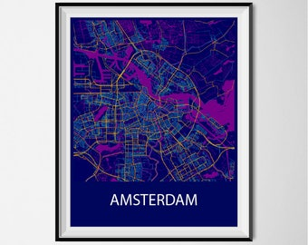 Amsterdam Map Poster Print - Night