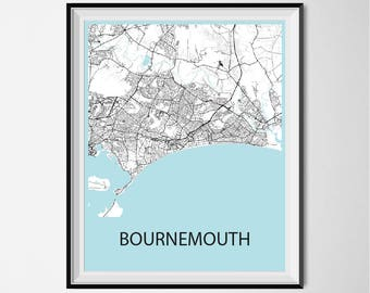 Bournemouth Map Poster Print - Black and White