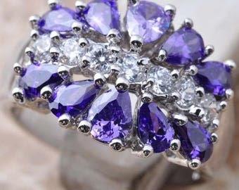 Purple Amethyst Gemstone Silver Ring Size 6