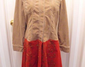 Upcycled Corduroy Jacket, Hippie Jacket, Size Large, BOHO Corduroy Coat, Long Refashioned Jacket, Groovy Fashions