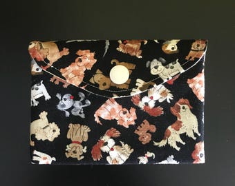 "Handmade two-compartment card and notions holder or purse 4.5"" x 3"" *Dogs park*"