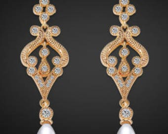 Gold pearl and crystal bridal drop earrings