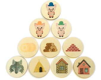 3 little pigs - story tellers / story stones