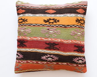 "Kilim rug pillow cover 22""x22"" (55x55cm) 019"