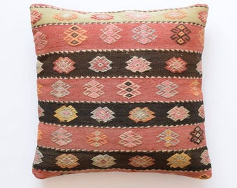 "Kilim rug pillow cover 22""x22"" (55x55cm) 020"