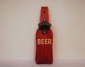 Handmade wooden beer bottle opener,  wall mounted, great gift!