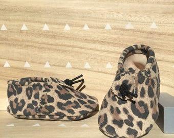 Leopard Print Suede Baby Booties