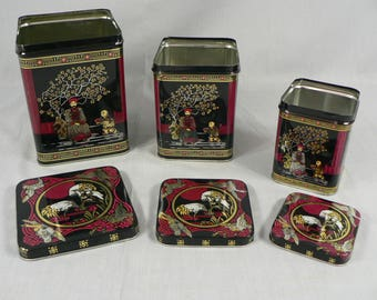 Set of 3 Asian Chinoiserie Nesting Storage Tins 3 Small, Medium and Large with Lids