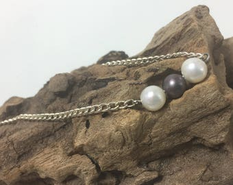 Three PEARL NECKLACE, black pearl necklace, white pearl necklace, white pearls, black pearls, Pearl necklace, nautical