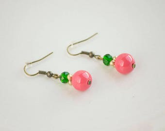 Green + Pink Drop Earrings