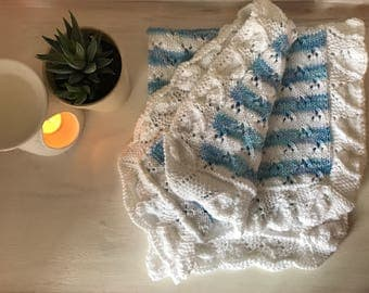 Hand-knitted striped Baby Blanket